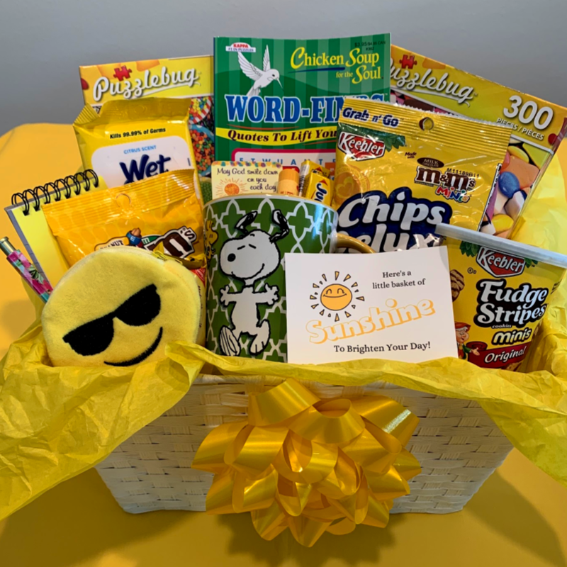 A basket of sunshine is a great idea to give to encourage and help someone during cancer treatments.