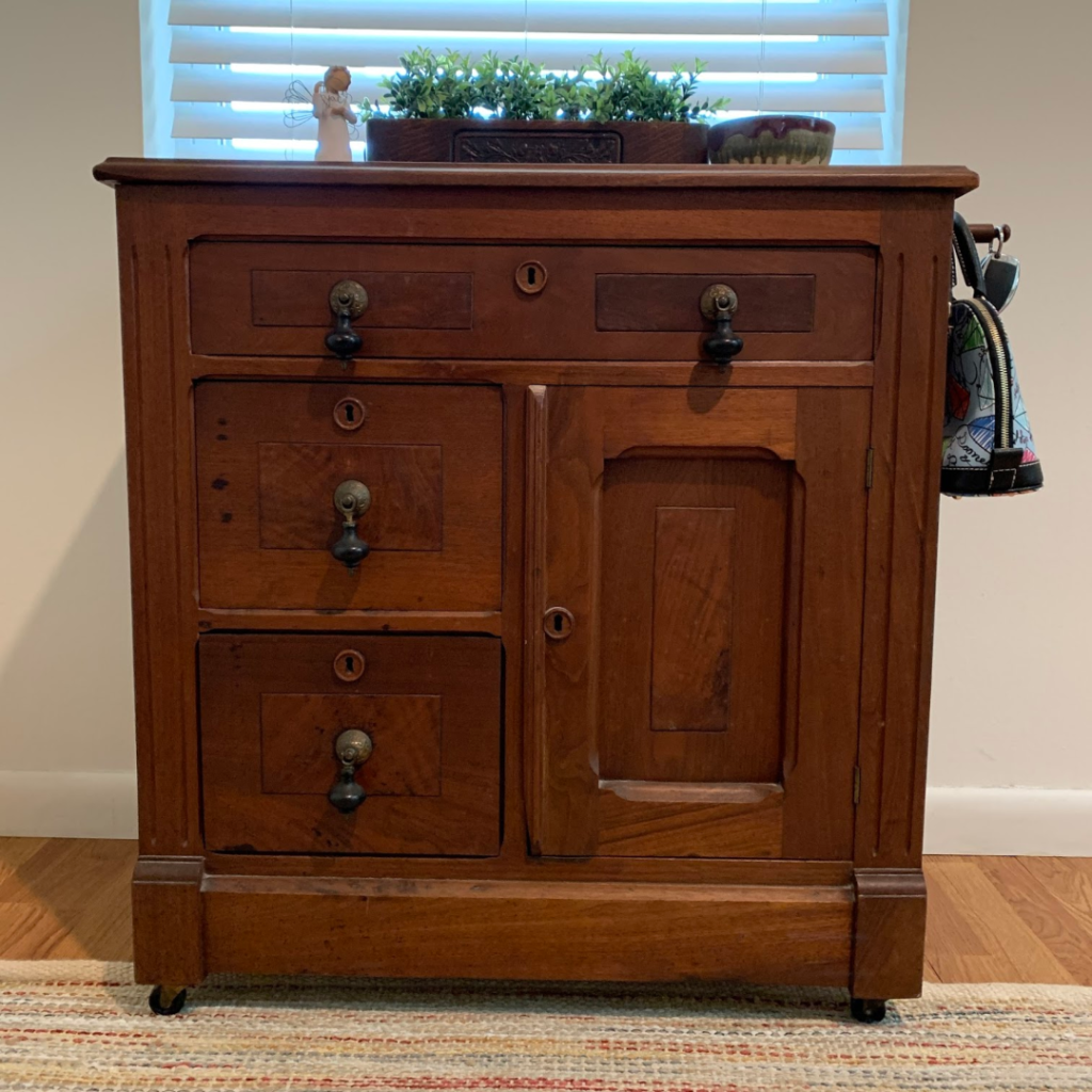 How to Make Your Small Entryway Organized with this repurposed buffet.